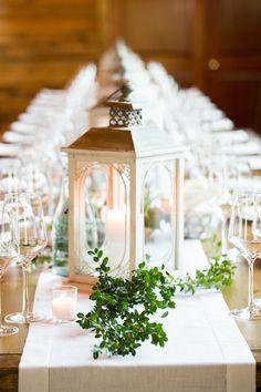 Elegant White Lantern Centerpiece | Aaron Watson Photography