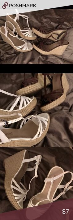 👡2/Pair Victoria's Secret Espadrilles👡 EUC Colin Stuart for VS Espadrille Wedges-2/$7!! These are so comfortable! No damage on either pair. One white patent leather straps, one with brown suede straps. Smoke-free home! Cover photo is stock product image from VS, the rest are of the listed items. Original $: $24.95/per pair!!! 😵😵😵👙👒👡 Victoria's Secret Shoes Espadrilles