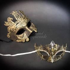 Gold Couples Masquerade Masks, His & Hers Masquerade Masks - Roman Mask and Laser Cut Masquerade Mask with Diamonds Couples Masquerade Masks, Masquerade Party, Phantom Mask, Butterfly Mask, Female Mask, Half Mask, Most Romantic, Mask Design, Laser Cutting