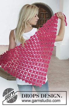"Granada - Crochet DROPS shawl with intricate flower pattern in ""Alpaca"" or ""BabyAlpaca Silk"" and ""Vivaldi"". - Free pattern by DROPS Design Poncho Crochet, Crochet Prayer Shawls, Poncho Shawl, Crochet Shawls And Wraps, Crochet Scarves, Crochet Clothes, Crochet Woman, Love Crochet, Crochet Flowers"