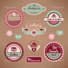 Buy Set of Vintage Bakery Labels by SelenaMay on GraphicRiver. Set of vintage bakery labels vector illustration with mesh gradient only on background, no other gradient or transpar. Cupcake Logo, Cupcake Vector, Cupcake Art, Vintage Bakery, Retro Vintage, Logo Doce, Bakery Names, Bakery Logo Design, Bakery Business
