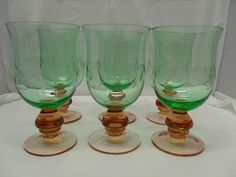 Six Vintage Water Goblets/Two Tone Glass Water by CatzShinySmiles