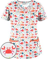 40393ee92be UA Bubble Fish White Rounded V-Neck Print Scrub Top