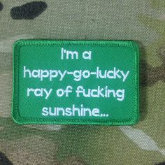 Happy Go Lucky Morale Patch Cool Patches, Pin And Patches, Biker Patches, Punk Patches, Velcro Patches, Tactical Patches, Tactical Gear, Tactical Clothing, Diy Punk