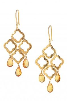 Signature Clover Drop Earrings on sale- $40.50 Warm citrine colored glass stones dangle from gold plated brass in our signature clover motif.