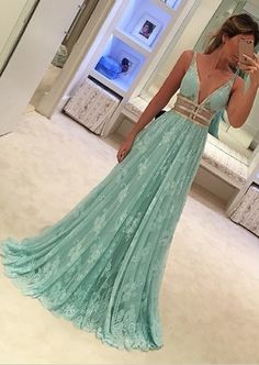 2017 prom dress, long prom dress, mint green prom dress, lace prom dress