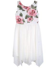 Bcx Floral-Lace Handkerchief-Hem Dress, Big Girls (7-16)