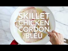 This EASY Skillet Chicken Cordon Bleu is made with thin sliced boneless chicken cutlets, lightly pan fried then topped with ham and swiss in a light Lemon-Dijon Skinny Recipes, Ww Recipes, Low Carb Recipes, Cooking Recipes, Skinnytaste Recipes, Chicken Recipes, Turkey Recipes, Diabetic Recipes, Salads