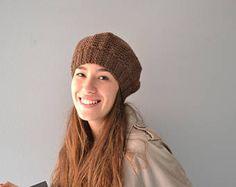 Beret Women warm hat knit for winter brown beret wool knit beret