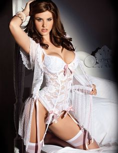 True Bliss White Lace Bustier Lingerie Set by Escante.  - Bridal and honeymoon lingerie and costumes