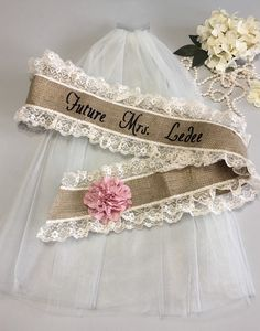 Burlap Bachelorette Sash - Bridal Shower Gift for Bride - Bachelorette Party  A personal favorite from my Etsy shop https://www.etsy.com/listing/189077143/bachelorette-sash-and-veil-set-burlap