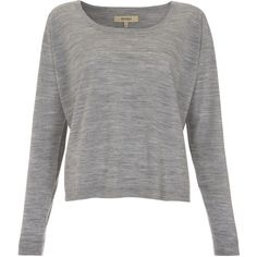 Whyred Grey Melange Merino Jumper ($140) ❤ liked on Polyvore featuring tops, sweaters, shirts, blusas, long sleeve jumper, merino wool long sleeve shirt, gray sweater, gray long sleeve shirt and long sleeve shirts