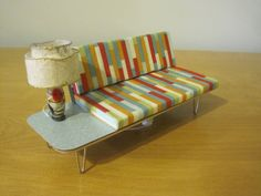 1:12 Scale Mid-Century Modern  Sofa with Attached End table for a Dollhouse on Etsy, $25.00