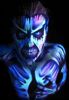 The Fluorescent UV Face paint can also be used as a UV body paint making it perfect for all occasions Uv Makeup, Male Makeup, Zombie Makeup, Clown Makeup, Halloween Makeup, Halloween 20, Face Paint For Men, Alien Face Paint, Neon Face Paint