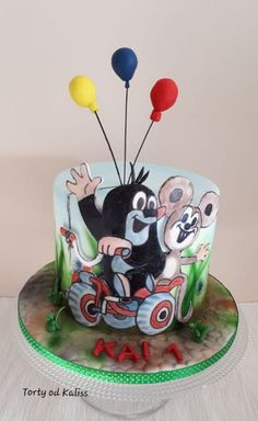 mole and a friend of a mouse - cake by Kaliss Mouse Cake, Novelty Cakes, Mole, Cake Art, Amazing Cakes, Cake Decorating, Sweet Treats, Birthday Cake, Airbrush