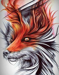 Fox Digital Printer, Clever, Fox, Abstract, Pictures, Artwork, Animals, Summary, Photos