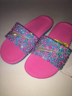 the latest 3a602 c8792 Custom Bling Nike Flip Flop Slides Benassi JDI slides Nike Flip Flops, Flip  Flop Shoes