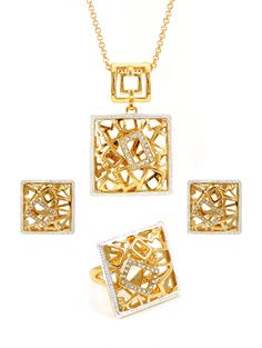High quality Africa style gold plated ring earrings and pendant sets