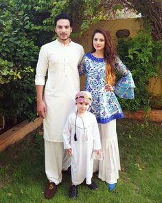 Top 25 Pakistani Celebrity Couple Outfits - Cute Couple Outfits Of Pakistani Celebrities Pakistani Fashion Casual, Pakistani Dresses Casual, Pakistani Dress Design, Indian Fashion, Stylish Dress Designs, Stylish Dresses, Simple Dresses, Casual Dresses, Fashion Pants