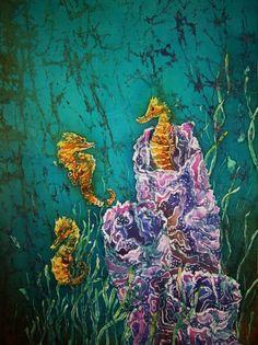 Horsin Around Tapestry - Fine Art Print - Sue Duda Ocean Art, Fish Ocean, Underwater Art, Batik Art, Alcohol Ink Art, Silk Painting, Art Music, Doodle Art, Fine Art America