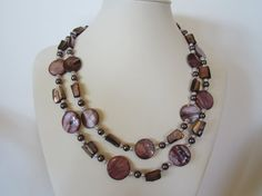 Purple mother of pearl double strand necklace Summer by yasmi65, $30.00