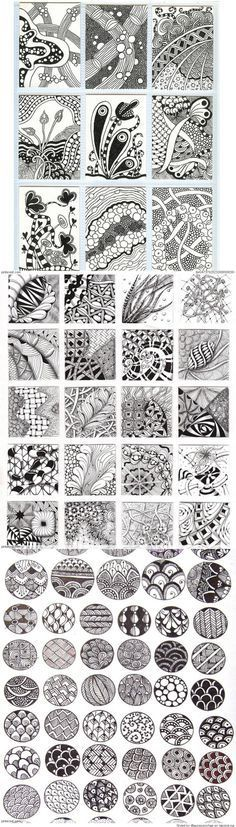 Zentangle Patterns & Ideas - I thought they were just doodles.but I guess its a zentangle pattern. Doodles Zentangles, Zentangle Drawings, Doodle Drawings, Doodle Art, Zen Doodle, Doodle Patterns, Zentangle Patterns, Doodle Borders, Heart Patterns