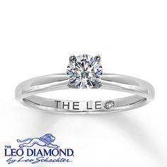 This 1/2 carat round Leo Diamond engagement ring is secured by platinum prongs. The classically designed band is crafted of 14K white gold with a high-polish finish. This fine jewelry ring features an independently certified Leo Diamond that is laser-inscribed with a unique Gemscribe® serial number.
