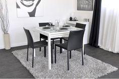 extensible Dim1400 en trempé Table Verre manger Blanc à b7f6gy