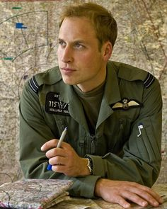Prince William pictured at the helicopter flying school at RAF Shawbury, Shrewsbury England