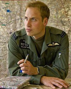 Milestone birthday: Prince William pictured at the helicopter flying school at RAF Shawbury, Shrewsbury.