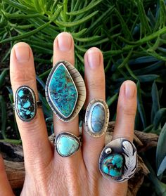 Turquoise Ring. Size 8. Sterling Silver and Stone. Large by Arrok