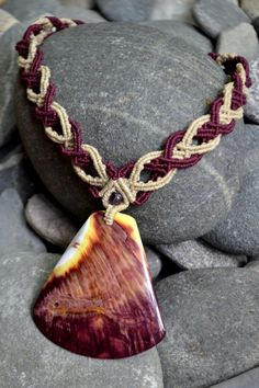 Hand-knotted macrame necklace with Spiny Oyster Shell by Coco Paniora Salinas of Rumi Sumaq