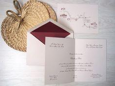 nvitaciones clásicas pero con un punto original. El tradicional color blanco roto del papel, lo hemos cambiado por color piedra y lo hemos combinado con un tono entre berenjena y color vino .   EL RESULTADO : UN EXITO!!  #invites  #wedding  #boda