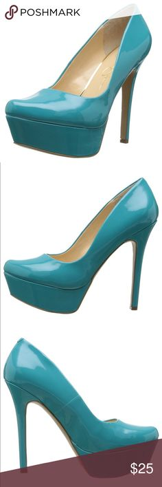 """Jessica Simpson """"Wanelo"""" Aqua Patent Pump Fun, sexy style, Fabulous and great for color blocking!  -Patent Synthetic -Imported -Synthetic sole -Heel measures approximately 5.25"""" -Platform measures approximately 1.5"""" Jessica Simpson Shoes Heels"""