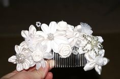 Ivory Fabric Kanzashi Flowers Side Comb Bridal / by CarolinesCombs, $63.00