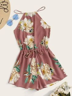 Shop Split Back Drawstring Waist Floral Print Halter Romper at ROMWE, discover more fashion styles online. Cute Teen Outfits, Cute Comfy Outfits, Pretty Outfits, Stylish Outfits, Girls Fashion Clothes, Summer Fashion Outfits, Cute Fashion, Fashion Styles, Teens Clothes