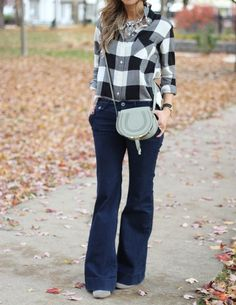 check check - plaid shirt, statement necklace, flare jeans, crossbody