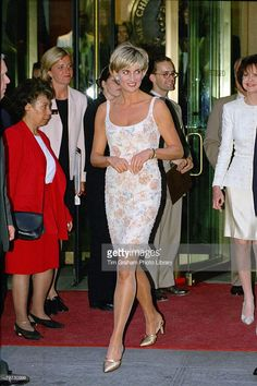 Diana, Princess of Wales arriving for a gala party to launch the Christie's dress auction to raise money for her charities, She is wearing a cocktail dress designed by fashion designer Catherine Walker