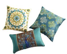 Global can be glamorous with beaded and embroidered pillows in jewel tones