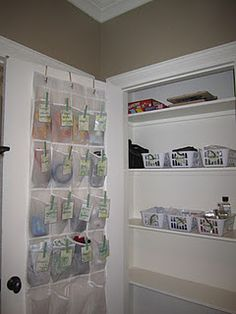 what a great idea for an additional storage space! Use inside closet doors and pantry door and laundry room door