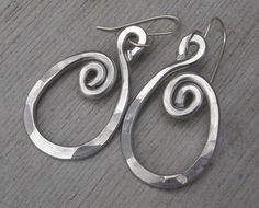 Spiraling Oval Aluminum Earrings Light от nicholasandfelice, $18.00