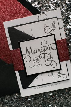 ADELE Suite Glitter Package, black and red, glitter wedding invitations, formal wedding invitations, script wedding invitation fonts