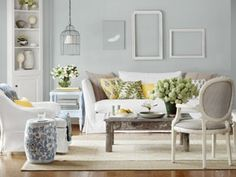 Inspiration for wall art.  Think accent color instead of white for frames and bird canvas    Photo: Dana Gallagher