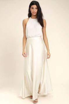 28539057c0a8 Picture Perfect Cream Satin Maxi Skirt