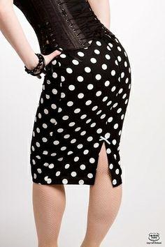 Pencil Skirt Black White Polka Dotsindulgy.com High Waisted Pencil Skirt 0d0361ca78
