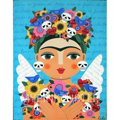Frida Kahlo Angel With Flowers Skulls And Blue Birds 8x10 Print Of Painting By LuLu Mypinkturtle
