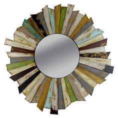 round mirror with pieces of wood paint in different colors - can be made