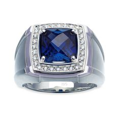 Product Image for J. Goodman™ Sterling Silver .25 cttw Diamond and Lab-Created Sapphire Squared Men's Ring 1 out of 2