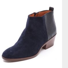 "Madewell Charley boot in ""Night Vision"" ( blue) Classic boots in dark blue suede and leather. Moderate wear. Madewell Shoes Ankle Boots & Booties"