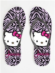 Items similar to Custom Personalized Hello Kitty Zebra Womens & Girls Flip Flops on Etsy Sock Shoes, Shoes Heels Boots, Heeled Boots, Pink Cheetah, Cheetah Print, Hello Kitty Shoes, Miss Kitty, Pretty Cats, Sanrio